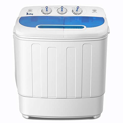 KUPPET Compact Twin Tub Portable Mini Washing Machine 13lbs Capacity, Washer(8lbs)&Spiner(5lbs)/Semi-Automatic  (Whie&Blue)