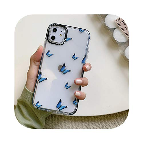 Carcasa transparente para iPhone 8 11 con diseño de mariposa, para iPhone 12 Pro Max xs xr x 7 8 Plus SE 2020 12mini transparente