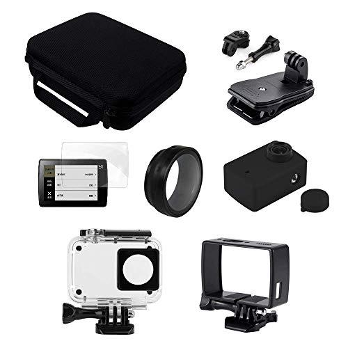 Eyeon Accessori Kit 7 in 1 Custodia Impermeabile, Telaio, Custodia Silicone e Copriobiettivo, Protezione UV, Pellicola Protettiva per lo Schermo e Lenti per Xiaomi YI 4K 4K+, YI LITE Action Camera