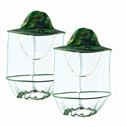 HunterBee - Cappello rotondo da apicoltura con rete velata, cappello con zanzariera,velo di protezione delle api2 pezzi
