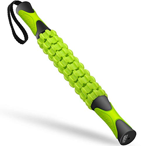 Ameri Fitness Muscle Roller Massage Stick, Kasonic Professional Body Massage Sticks Tools for Relief Muscle Soreness; Cramping and Tightness; Help Legs and Back Recovery (Grey Green)