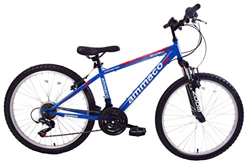 Ammaco Scafell 24' Wheel Kids Boys Mountain Bike Front Suspension 21 Speed 14' Frame Blue/Red