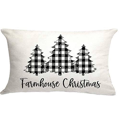 Farmhouse Christmas Cushion Cover Buffalo Check Chirsmtas Trees Pillow Cover Famhouse Christmas Decoration Pillow Cover Cuhion Cover Farmhouse Christmas Decor 20x12 inch Outdoor Pillow Cushion,Sofa