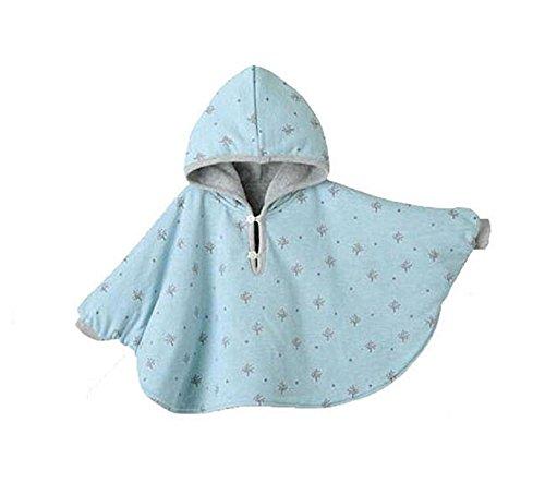 TININNA Baby Kinder Kleinkind Winter Kapuze Cape Mantel Umhang Poncho Mädchen Jungen hellblau 1-2 Jahre EINWEG Verpackung