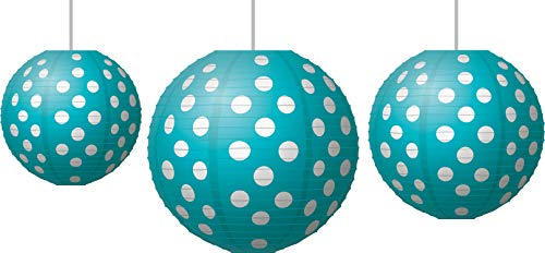 Teal Polka Dots Paper Lanterns (77103)