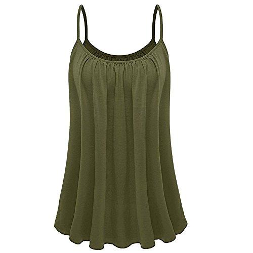 OVERDOSE Sommer Einfarbig Frauen Bluse Shirt Camis Pullis Oberteile Lose Leibchen Damen Einfarbig Chiffon Tank Tops Plus Größe S-6XL (M, K-Armeegrün)