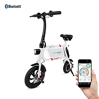 Swagtron Cycle Pro Folding Electric Bike, Pedal Free and App Enabled, 18 mph E Bike with USB Port to Charge on The Go (White)