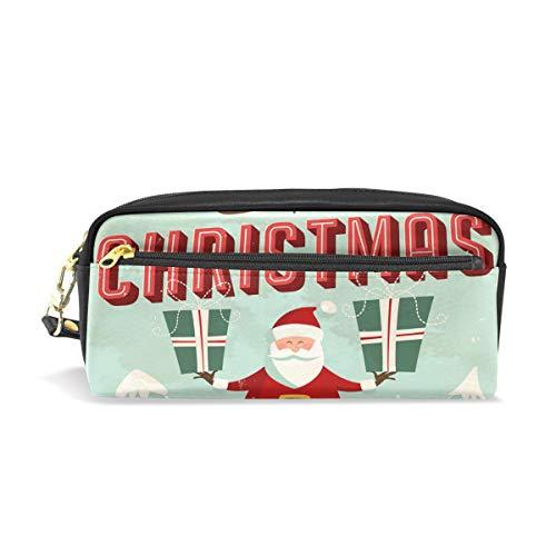 Alarge Stifteetui, Vintage-Weihnachtskarten, PU-Leder, Federmäppchen, Reißverschluss, Make-up, Kosmetik, Reisen, Schultasche