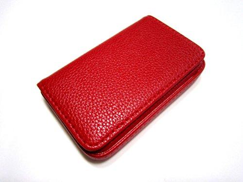 (カモミル) KAMOMIRU 選べる 7色 名刺入れ カードケース ビジネス カラフル 黒 赤 濃茶 薄茶 黄色 ピンク オレンジ(赤)