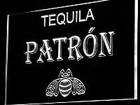 Patron Tequila Bar Beer Pub LED看板 ネオンサイン ライト 電飾 広告用標識 W30cm x H20cm ホワイト
