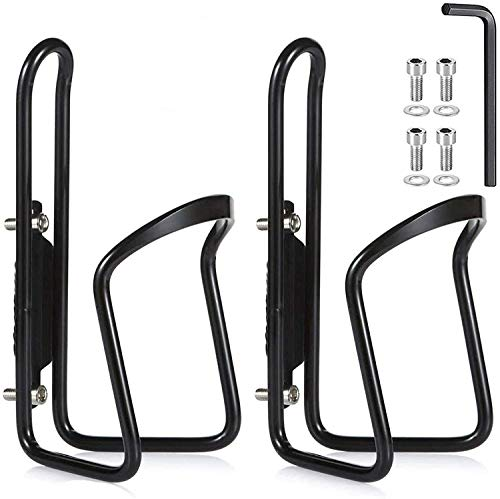 QINIFIFY Bike Water Bottle Cages, Lightweight Aluminum Alloy Bicycle Water Bottle Cage Holder Brackets for Outdoor Cycling (2 Pack- Drilled Holes Required)