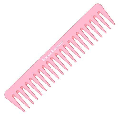 7 Inch Detangling Comb   Pink Carbon Fiber   Large Wide Tooth Detangler Comb   For Straight or Curly Hair   Wet or Dry Hair   Professional Grade Styling Comb for Men and Women (Single Pink)