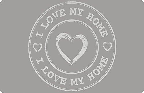 Set de table « I love my home » essunterlage Dessous de Table Gris Foncé