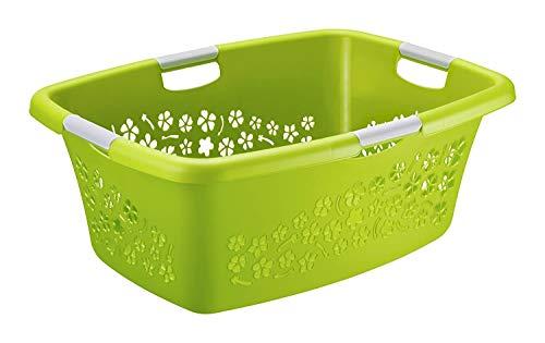 Rotho Flowers Wäschekorb 50l mit 4 Griffen, Kunststoff (PP) BPA-frei, grün/weiss, 50l (65,1 x 48,6 x 26,2 cm)