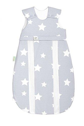 Odenwälder Jersey-Schlafsack prima klima white stars light silver, Größe:110