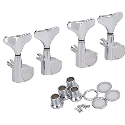 PIXNOR 4R Bass Tuners Machine Heads Tuning Pegs (Silver)