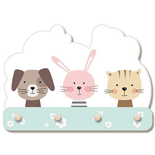 Perro conejo gato granja hof Animales Perchero de pared para habitación infantil en estilo noruego Niños Decoración Madera MDF fabricado en Alemania 40 cm x 27 cm KWG019