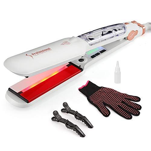 Infrarood radiator voor alle haren met stoom, infrarood verwarming, professionele infrarood keramiek, voor alle haren met stoom en dubbel haar, wit Wit.