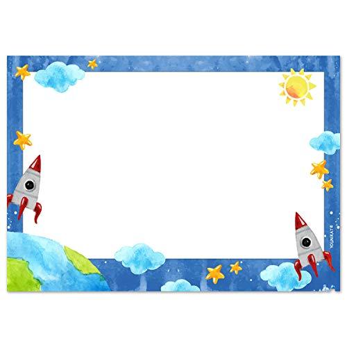 Vade de escritorio con diseño espacial en DIN A3, 25 hojas, en blanco, azul, de papel, para escribir y arrancar, para niños grandes y pequeños, dv_926