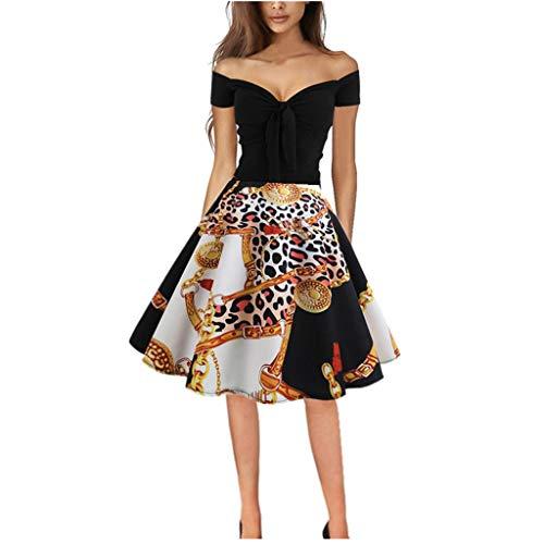 TIFENNY Women's Vintage Dress 1950s Retro Short Sleeve Off Shoulder Fashion Printing Evening Party Prom Swing Dresses Black