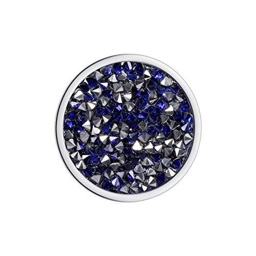 Meilanty Damen Halskette Anhänger Coin 33mm für Münzfassungen Edelstahl Blauer Zirkon GP-19