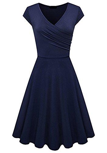 EFOFEI Damen Casual Beach Dress Kurzarm ausgestelltes Vintage-Kleid,Marineblau,2XL