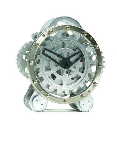 Zahnrad Tischuhr Skelett Uhr - silbern Invotis GZ010