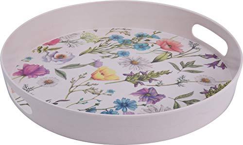 Bandeja melamina redonda 30 cm. Ideal para el jardín. Bonito diseño de flores