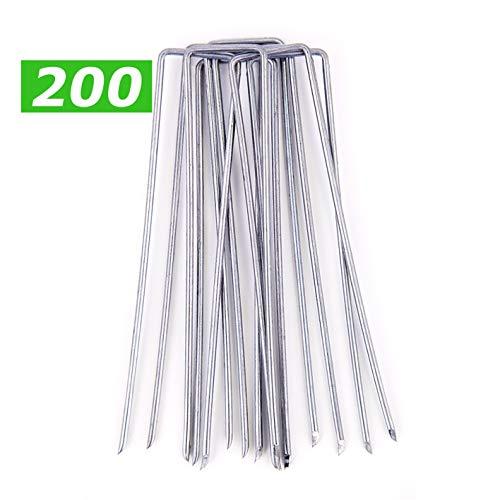 GardenPrime 200 STUKS U-vormig grondanker verzinkt Ø 2,8 mm voor het bevestigen van onkruid, netten, dekzeilen, mazen, membranen (200, 150 mm lengte, gegalvaniseerd staal (roestbescherming))