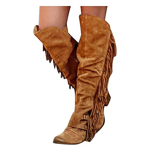 Fransenstiefel Damen, Dasongff Fransen Stiefel Mit Blockabsatz Vintage Spitz Stiefel Wildleder Kniehohe Booties Frauen Mode Klassischer Lange Schuhe Boots Warm Cowboy-Stiefel Winterschuhe
