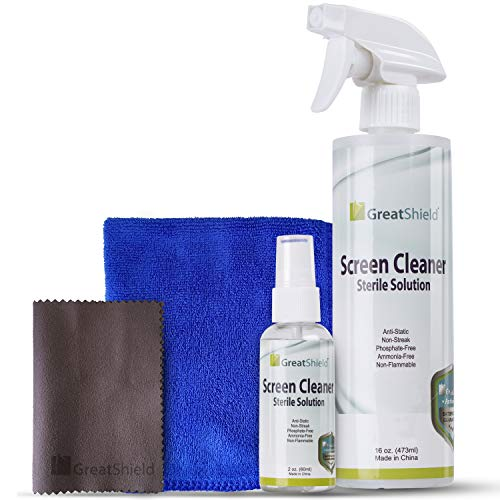 GreatShield Universal Screen Cleaning Kit, Large Blue Microfiber Cloth + Small Brown Microfiber Screen Cleaning Cloth + (2oz + 16oz) Non-Streak Solution Spray for TV, Laptops, PC Monitors, Smartphones