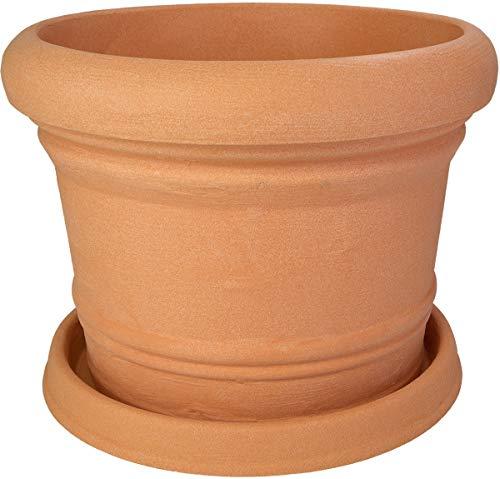 Pflanzkübel Palermo mit passendem Untersetzer in versch. Farben und Größen, Farbe:impruneta, Durchmesser:40 cm
