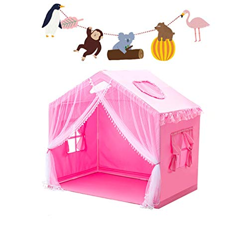 XZGang Boy's Blue Tent House, Girl's Pink Play Tent Children's Room Sleeping Tent with 4 Windows, Baby's Reading Corner with Decoration Children's space ( Color : Pink , Size : 140*95*135CM )