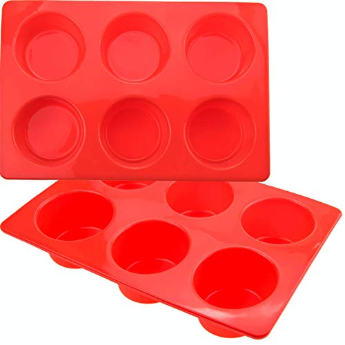 2 Pack Muffin Pans Silicon/Silicone Muffin Tray Cupcake Cake Cases, Moulds(6 Holes, Red)