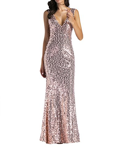 SOMTHRON Damen Sexy Ärmellos Lange Bodycon Rosé Gold Pailletten Party Ball Tanz Kleid Bodenlangen Sparkle Neckholder Rückenfreies Pailletten Abendkleid Ballonkleid (GO-S)