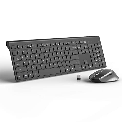 Wireless Keyboard and Mouse, J JOYACCESS 2.4G USB Ultra Slim Full Size Ergonomic Rechargeable Keyboard and Slient Cordless Mouse with Back/Forward Buttons for Mac/Windows/Laptop/Desktop - Black