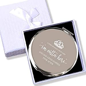 """--FAREWELL SOUVENIR – """"A wise woman once said:""""I'm outta here"""", And She Lived Happily Ever After"""".What a better way to show your leaving friends or coworkers blessing and yearning with this travel mirror. --HIGH QUALITY– Stainless Steel, It's a profe..."""