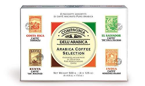 Caffè Corsini Cofanetto Regalo Selezione Arabica, Caffè Macinato 100% Arabica per Moka o Espresso Monorigine Kenya, Costarica, India, El Salvador, 4 x 125 gr