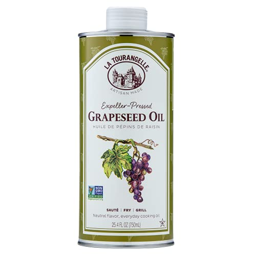 La Tourangelle, Expeller-Pressed Grapeseed Oil, High Heat Neutral Cooking Oil, Cast Iron Seasoning, Also Great for Skin, Hair, and DIY Beauty Recipes, 25.4 fl oz