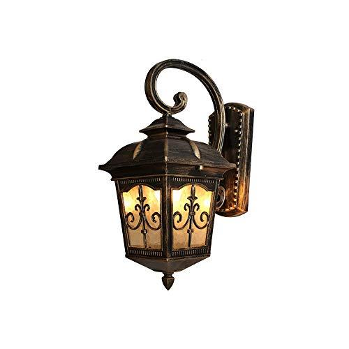 KMYX Lanterne Murale d'extérieur Mur en Aluminium Lampe en Verre Lanterne Antique Garden Patio Chemin extérieur Lumière [Classe énergétique A ++] (Color : Bronze, Taille : H-56cm)