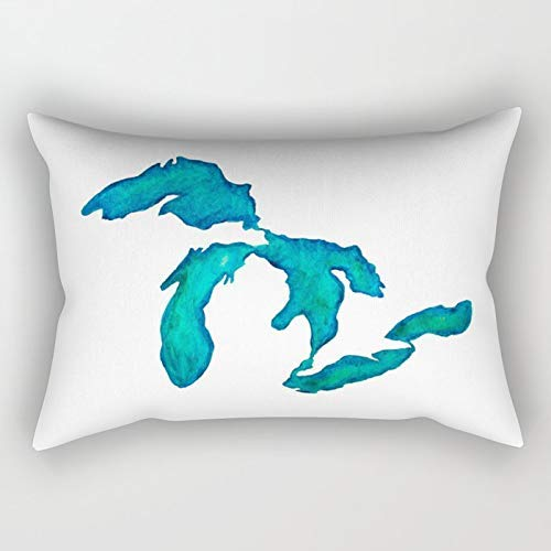Yuanmeiju Watercolor Great Lakes Rectangular Funda de Almohada Fundas de colchón 20x30 Inch