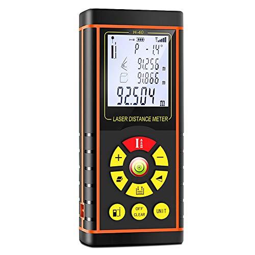 Télémètre Laser numérique 40M Mètre Laser Mesure de Distance Surface Volume Fonction Pythagore Stocker 20 données Fonction Muette Niveau à Bulle LCD Écran IP54