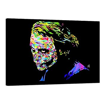 Joker Movie Canvas Wall Art Heath Ledger Joker Poster Picture Fashion Canvas Print Artwork for Home Wall Decor Joker Clown Canvas Painting for House Living Room Bedroom Decoration  12  Wx18 H