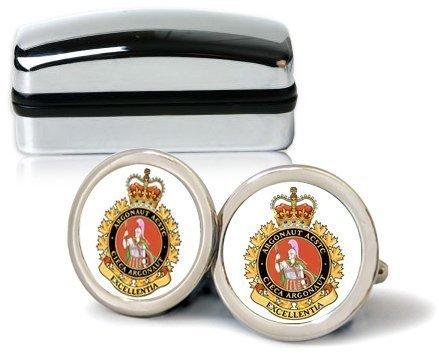 Argonaut canadien militaire homme Chrome Boutons de manchette avec coffret cadeau