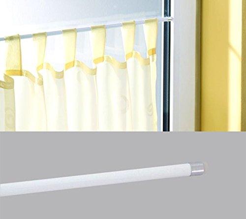 deko-raumshop Scheibenstange Pinn Soft Ausziehbar Weiß Länge 40 cm bis 125 cm Vitragestange Metall Fensterstange Klemmstange Gardinenstange Ohne zu Bohren (50 bis 65 cm)