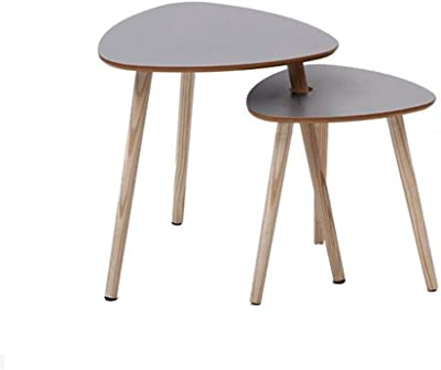 Nesting Side Table Set of 2 Triangle Table Living Room Corner Table Coffee Table with Solid Pine Leg (Color : Gray)