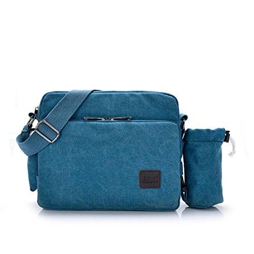 Womens Crossbody Messenger Bags Multifunction Canvas Handbag Messenger Shoulder Bag Leisure Working Bag Change Packet with Small Water Bag Blue