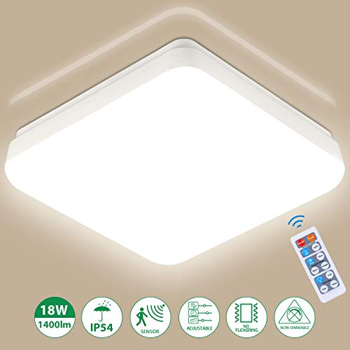 Lámpara de techo LED con Sensor Movimiento, 18W Luz de Techo, Oeegoo Plafón LED de Techo para para Baño Cocina Balcón Pasillo, 1400Lm, IP54, Blanco Natural 4000K