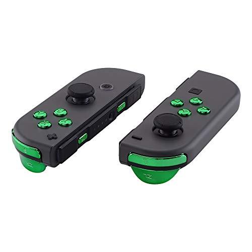 eXtremeRate Tasten Kit ABXY Knöpfe SR SL L R ZR ZL Trigger Buttons Federn,Komplett Set Tasten Ersatzteile mit Werkzeug für Nintendo Switch Joycon(Chrome Grün)-Keine JoyCon Hülle