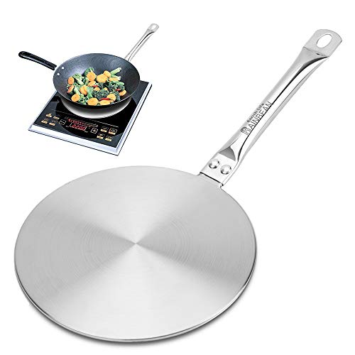 RAINBEAN 9.45Inch Heat Diffuser Simmer Ring Plate, Stainless Steel with Handle, Induction Adapter Plate for Gas Stove Glass Cooktop Converter, Flame Guard Induction Hob Ring Plate